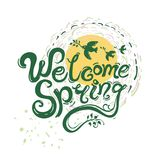 Willkommene Frühlingshandschrifts-Briefgestaltung Lizenzfreie Stockfotografie