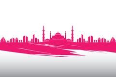 Willkommene Ramadan-Moschee und -vektor machten Design in Handarbeit lizenzfreie abbildung