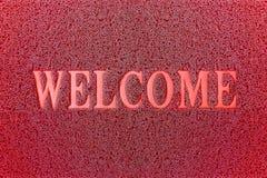 Willkommene rote Matte Willkommener Teppich-Hintergrund Lizenzfreie Stockfotos