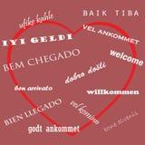 Willkommene Wortwolke in den verschiedenen Sprachen Sprachtag Stockfotos