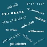 Willkommene Wortwolke in den verschiedenen Sprachen Sprachtag Stockfoto