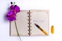 Willkommener Frühling - ein offenes Notizbuch mit einem Bündel von Frühlings-Blumen und von Füllfederhalter Stockbild
