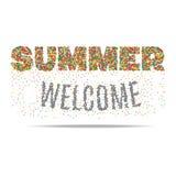 Willkommener Sommer in farbigen Blasen auf weißem Hintergrund Lizenzfreie Stockfotografie
