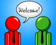 Willkommenes Gespräch zeigt Zettel-Chat und Ankunft an Stockfotografie
