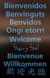 Willkommenes multilanguaje Plakat Lizenzfreie Stockbilder