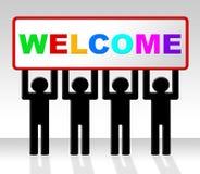 Willkommens-hallo Durchschnitte, wie Sie und Ankunft sind Lizenzfreies Stockfoto