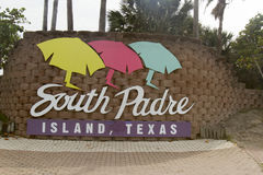 Willkommensschild für Südfeldgeistliche-Insel, Texas Stockfotos