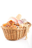 Willow basket with souvenirs from holiday Royalty Free Stock Image
