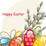 Willow branches and Easter Eggs Royalty Free Stock Images