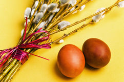 Willow branches and Easter eggs Royalty Free Stock Photography