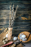 Willow branches and eggs on the table Stock Photos