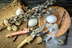 Willow branches and eggs on the table Stock Photography