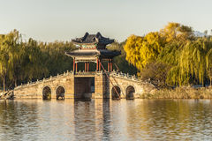 Willow bridge at Xidi of Summer Palace Royalty Free Stock Photos