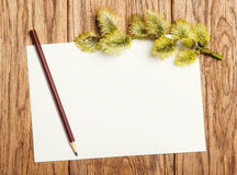 Willow catkin, pencil and paper blank on the old wooden table Royalty Free Stock Photos
