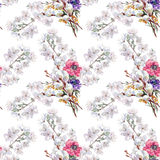 Willow, cherry flower, bouquet, watercolor, pattern seamless Stock Photo