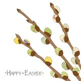 2018.03.03_willow eggs. Colorful Happy Easter greeting card with willow branches and Easter eggs . Easter background. Hand drawn illustration royalty free illustration