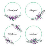 Willow herb, Chamerion angustifolium, fireweed, rosebay hand drawn vector round frame, wreath, graphic flower. Collections bouquets for greeting card Royalty Free Stock Image