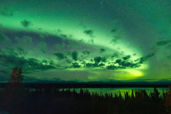 Willow Lake Northern Lights Aurora Borealis Alaska Night Sky Stock Images
