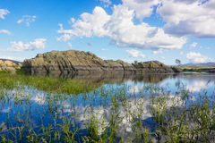 Willow Lake Reflection. A reflection of a granite rock formation at scenic willow lake prescott arizona stock image