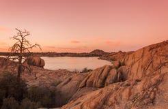 Willow Lake at Sunset Prescott Arizona Stock Image