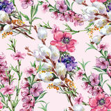Willow, peach flower, bouquet, watercolor, pattern seamless Stock Photos