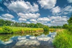 Willow River och att reflektera fördunklar i västra Wisconsin royaltyfri bild