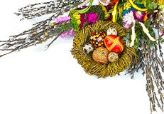 willow Sunday background of willow branches, willow bouquets. Easter top view. place for text royalty free stock image