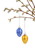 Willow twigs and hanging easter eggs Stock Photography