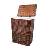 Willow wicker bamboo and rattan basket isolated on white backgro Stock Image