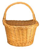 Willow Wicker Basket, Isolated On White Royalty Free Stock Photos
