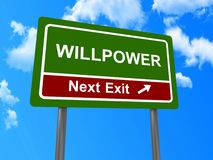 Willpower next exit sign. Illustration of willpower next exit sign with blue sky and cloudscape background, business concept Royalty Free Stock Photos