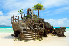 Willy's Rock on the White Beach of Boracay Island, Philippines Stock Images