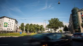 Willy Brandt Platz and Stadthalle Bielefeld time lapse stock footage