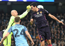 Willy Caballero and Sergio Busquets Royalty Free Stock Images