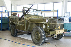 Willy Jeep with mounted Bren L4A4. An old willy jeep used at Rakkestad Airport, now displayed inside the hangar Stock Images