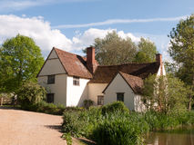 Willy Lott`s Cottage outside in flatford mill in constable count. Ry old and famous location building from a painting on a summer afternoon with no people very Royalty Free Stock Photos