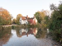 Willy lotts cottage at flatford mill in suffolk in autumn reflec Stock Photography