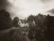 Dramatic Black and White Stunning Autumn English Country Mill Co Stock Photography