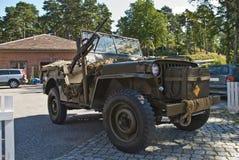 Willys jeep 1945, med maskingevär Arkivbilder