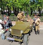 Willys MB - auto van U S Leger en Rood Leger van WW2 Royalty-vrije Stock Afbeeldingen