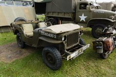 Willys Jeep. Willys MB or Ford GPW at a vintage military vehicle display. Used extensively by the allied armies in World War II and post war and became known as Royalty Free Stock Photo