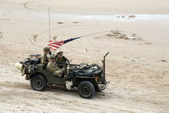 Willys MB Jeep 5. Willy jeep Omaha Beach France. Anniversary D-Day 2014 stock photos