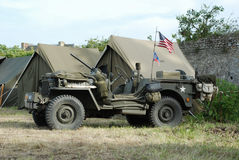 Willys MB Jeep 7. Willy jeep Omaha Beach France. Anniversary D-Day 2014 royalty free stock photo