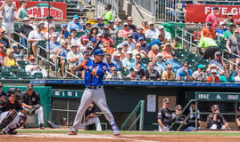 Wilmer Flores New York Mets 2017 At Bat. At bat, Wilmer Flores of New York Mets waits for great pitch during Spring training game in 2017 stock image