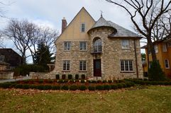 Wilmette Chateau. This is an early winter picture of a house in Wilmette, Illinois.  The house is an example of the French Provincial style of architecture that Royalty Free Stock Image