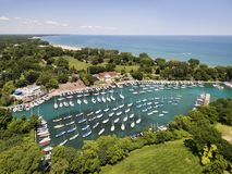 Wilmette Harbor Boats and Shoreline Stock Photography