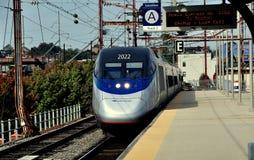 Wilmington, DE: AMTRAK Acela Train. Wilmington, Delaware: AMTRAK's Acela Express Passenger Train #2160 arriving on Track 2 at the Wilmington Train Station stock image