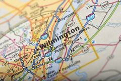 Wilmington on map. Closeup of Wilmington, Delaware on a map of the United States royalty free stock images
