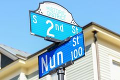 2nd and Nun street sign. WILMINGTON, NC - March 22, 2018: Signs depicting the corner of 2nd Street and Nun Street in the Historic District of Wilmington, NC are Royalty Free Stock Photography