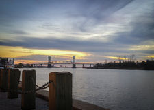 Wilmington, NC, Riverfront. An evening sunset along the Cape Fear River, in Wilmington, NC stock photos